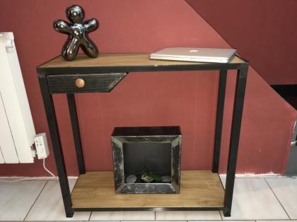 Console bois metal avec tiroir