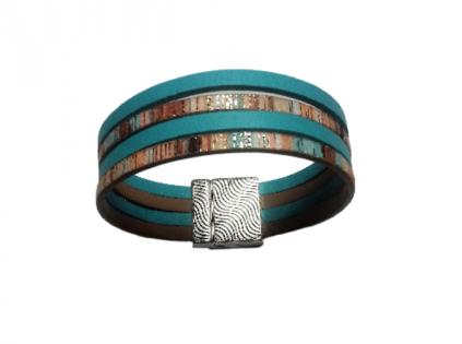 Bracelet cuir bleu multicolore