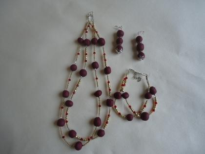 Parure trois pièces en perles fimo collection