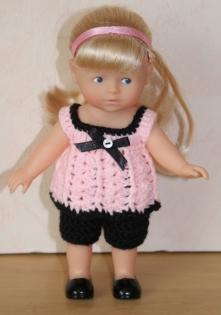 Ensemble rose et noir pour poupée mini corolline
