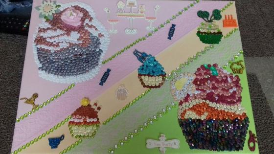 Joli tableau theme vintage cup cakes