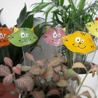 Pics a plantes - décoration de plantes - tête de chats
