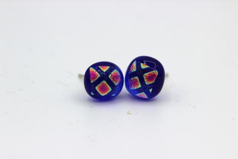 Paire de puces d'oreille - boucle d'oreille - verre fusionné - blau et brillantes (verre dichroïque)