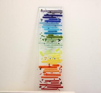 Art - décoration - verre - arc-en-ciel - pièce unique - verre fusionné - déco artisanale