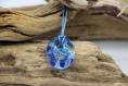 Pendentif artisanal, jaune ou bleu, verre fusionné, cadeau femme, fille, adolescente
