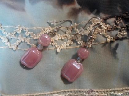 Boucles d'oreille et ses perles en céramique lustrée