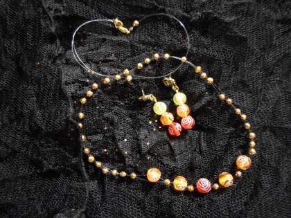 Parure 2 pièces : collier et boucles d'oreille couleurs de feu