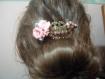 Peigne à cheveux rose et bronze vintage