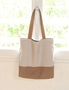 Sac tote bag - sac de plage ou sac d'été - lin marron camel