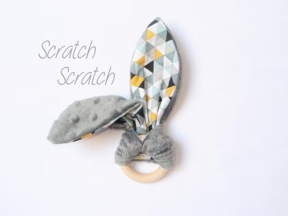 Hochet lapin oreille papier bruyant - anneau de dentition montessori pour bébé