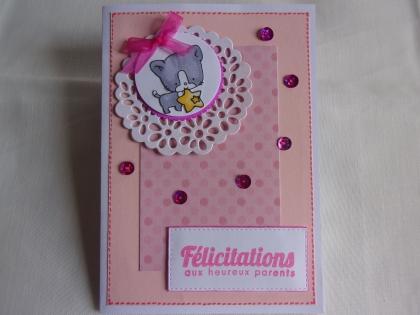 Carte de naissance rose