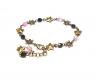 Bracelet perles verre rose noir - apprêts couleur bronze