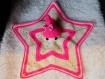 Doudou au crochet couleur rose et crème