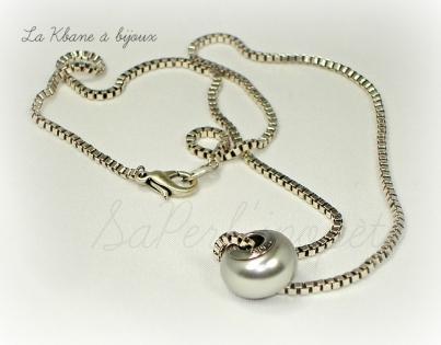 Collier becharmed crystal light grey pearl steel