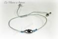Bracelet scarabée en cristal de swarovski silver night