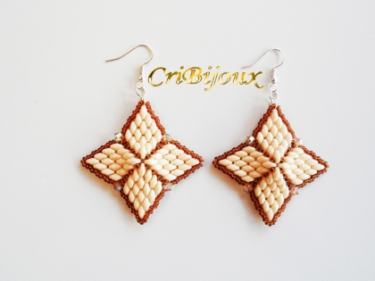 Boucles d'oreilles cinderella beige avec swarovski