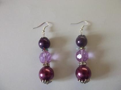 Boucles d'oreilles perles de verre violet