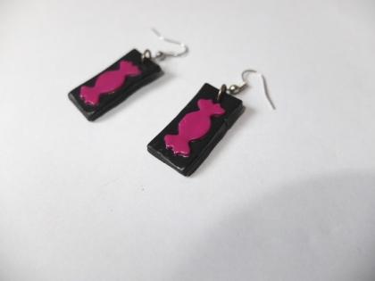 Boucles d'oreille fimo noir et bonbon rose fuchsia