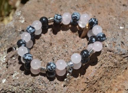 Bracelet double pierre gemme quartz rose obsidienne neige