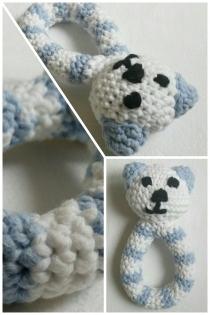 Hochet bébé ourson bleu et blanc en coton mélangé - crochet