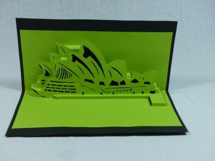 Carte opéra de sydney pour anniversaire ou fête en relief 3d kirigami couleur noir et vert anis