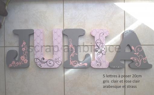 Lettre en bois, prénom en bois, lettre à poser, prénom à poser personnalisé thème arabesque et strass