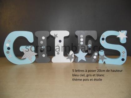 Lettre en bois, prénom en bois, lettre à poser, prénom à poser personnalisé thème étoile et pois