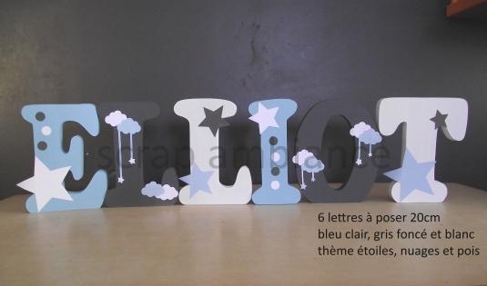 Lettre en bois, prénom en bois, lettre à poser, prénom à poser personnalisé thème étoile, nuages et pois