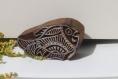 Tampon batik indien poisson en bois sculpté à la main, pochoir - btm10