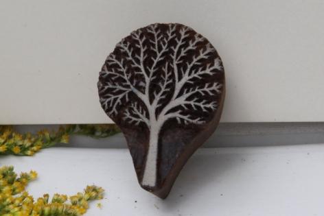 Tampon batik indien arbre en bois sculpté à la main, pochoir - btm12