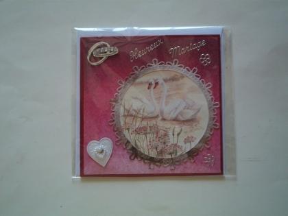 Double carte 3d heureux mariage aux cygnes et coeur de perles