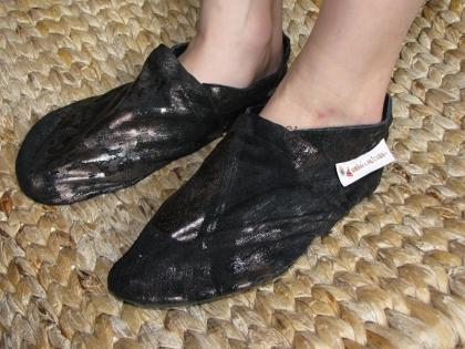 Chausson cuir - fille - noir patiné or  - taille 37
