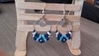 Boucles d'oreilles bleues motif ethnique