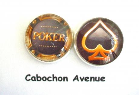 B3.397 bijou homme casino poker boutons de manchettes homme bijou poker - pic bijou métal argenté 2 cabochons verre