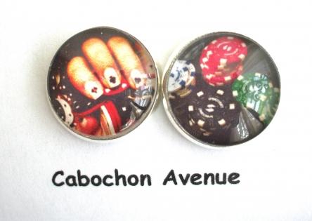 B3.399 bijou homme casino poker boutons de manchettes homme bijou poker - main jetons bijou métal argenté 2 cabochons verre