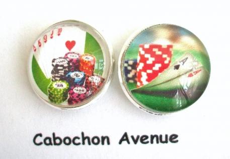 B3.400 bijou homme casino poker boutons de manchettes homme bijou poker - jeu de cartes - jetons bijou métal argenté 2 cabochons verre