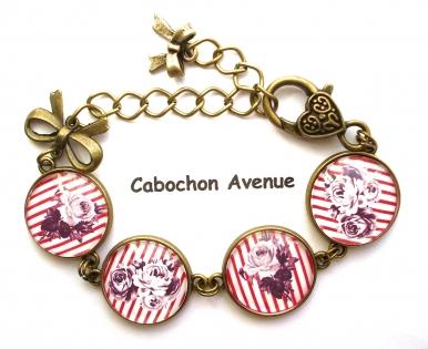 B3.424 bijou femme fleurs roses bracelet bijou fantaisie bronze 4 cabochons verre rose rayée rayures marine marinière vintage rétro rouge