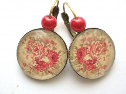B3.445 bijou femme bouquet de roses romantique boucles dormeuses bijou fantaisie bronze cabochon verre fleurs roses shabby chic rétro vintage