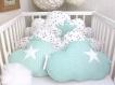 Tour de lit bébé 60cm large, nuages,  5 coussins , blanc, vert d'eau