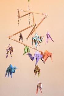 Mobile bebe bois suspension chambre enfant bébé en origami animaux dromadaire