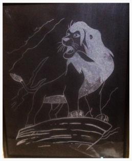 Cadre le roi lion en gravure