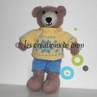 Albéric, doudou ours en tricot