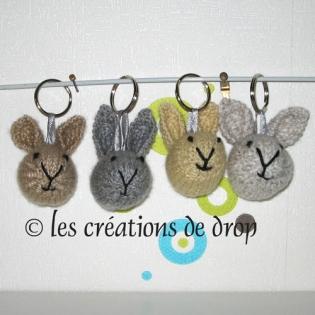 Porte clef, lapin en tricot