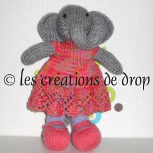 Tasmany, éléphante doudou en tricot