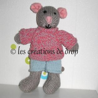 Emile, souris doudou en tricot