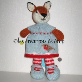 Candice, doudou renard en tricot