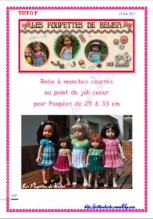 Tuto f / fiche explications tricot robe pour poupées de 25 cm & 33 cm