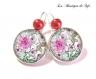 Argent 925 sterling : boucles d'oreilles dormeuses avec cabochon en verre 18 mm * fleurs * (300517)
