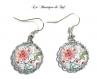 Argent 925 sterling : collier avec cabochon en verre 25 mm * fleurs * (300517)