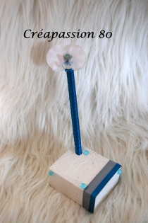 Porte stylo et son stylo assortie turquoise et blanc pour mariage, bapteme, anniversaire etc...